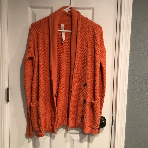 SOLD - Lululemon orange cardigan size 6